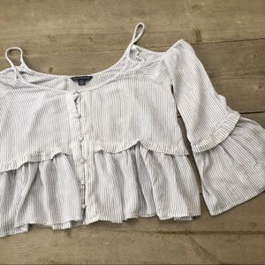 American Eagle Outfitters White Striped Crop Top